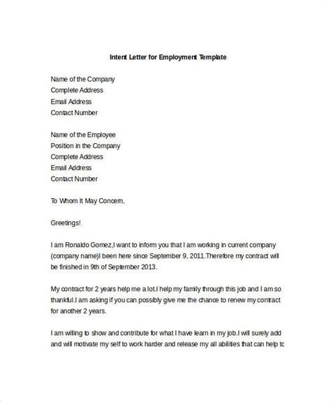 intent letter templates sample format