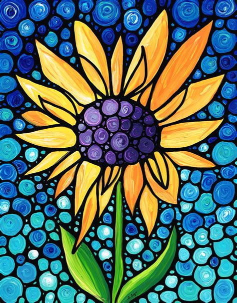 Daisy Home Decor standing tall sunflower art by sharon cummings painting