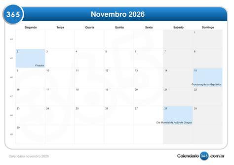 Calendario Novembro Calend 225 Novembro 2026
