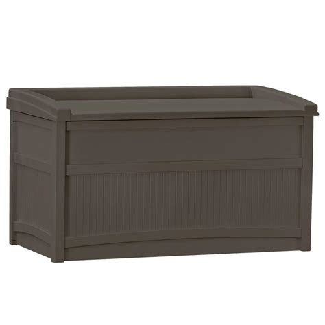 outdoor storage bench home depot rubbermaid 93 gal chic basket weave patio storage bench