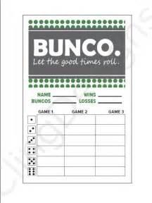 bunco score card printable instant download pdf file