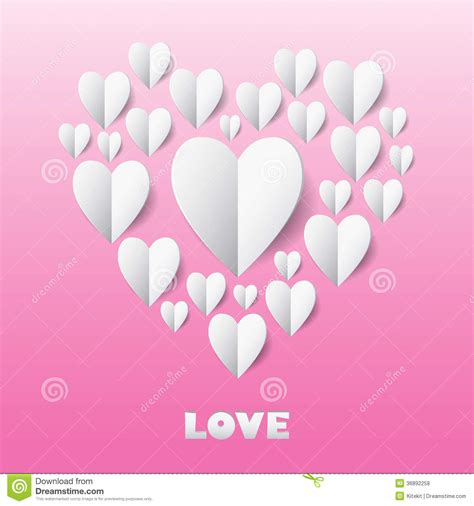 design is love paper heart love card template for design greeting card