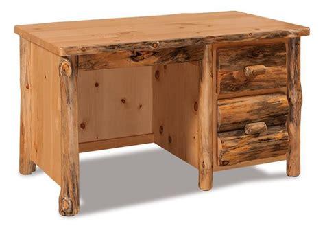 rustic pine writing desk amish rustic pine log single pedestal writing desk