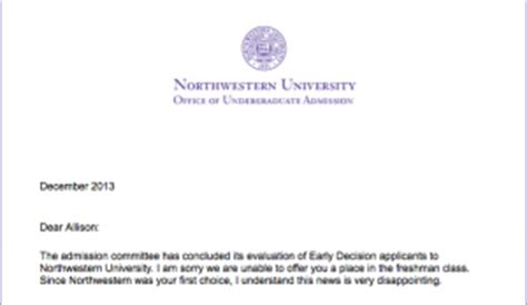 Northwestern Decision Letter Rejected The