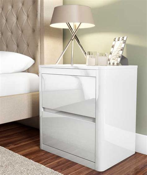 Large White Bedside Tables White High Gloss 2 Drawer Bedside Table Furniture123