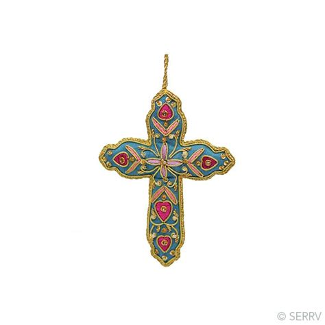 christmas ornaments bright zari cross ornament