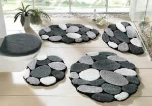 badezimmerteppich 3 teilig 3 tlg set badgarnitur badematte 50 x 90 grau schwarz