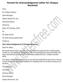 Acknowledgement Letter Receipt Of Cheque Free Sle Letters Business Letter Format Exles And Templates