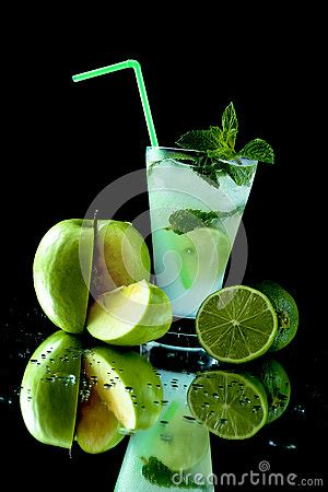 green cocktail black background apple mojito cocktail stock photo image 40937563