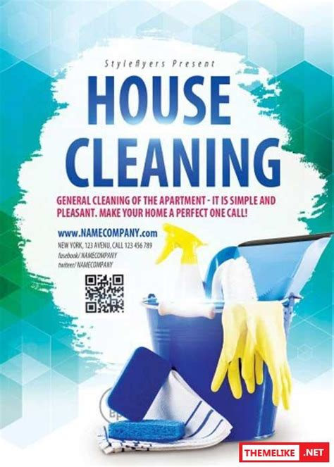 house cleaning psd flyer template all design template