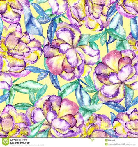 yellow watercolor pattern a seamless floral pattern with the watercolor violet and