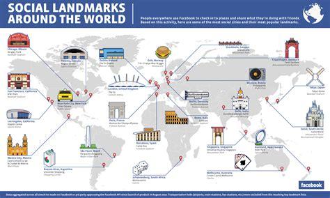 map of usa landmarks determines world s most social landmarks blue