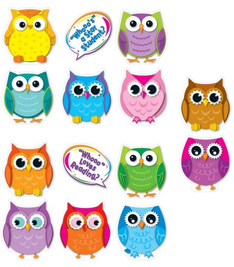 colored owls colorful owl talkers bulletin board set grade pk 8