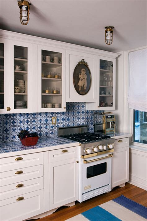 blue and white tile backsplash sneak peek best of backsplashes design sponge