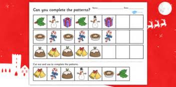 christmas pattern eyfs christmas complete the pattern worksheet worksheets