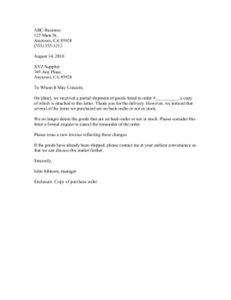 Business Letter Order cancel back order letter template