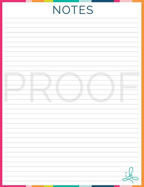 printable notes page notes page printable instant download