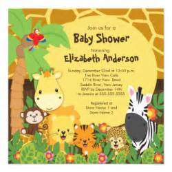 safari jungle animals baby shower invitations 5 25 quot square invitation card zazzle
