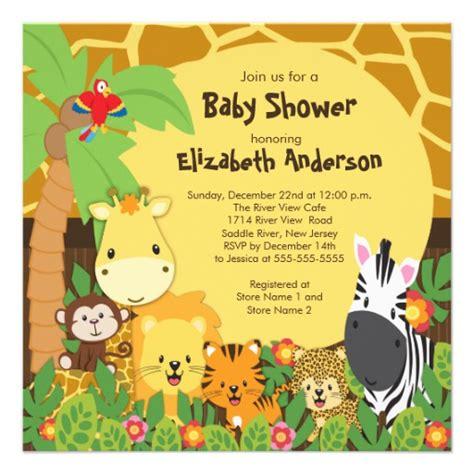 cute safari jungle animals baby shower invitations 5 25