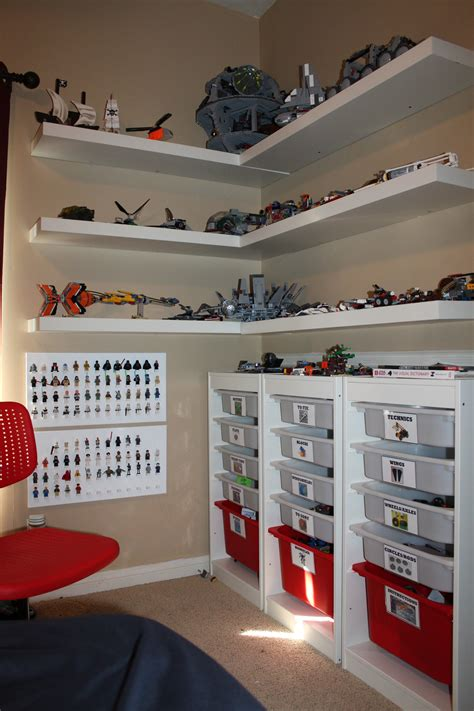 ikea lack shelf for lego display storage kids room idea clay s lego corner creation station made using ikea