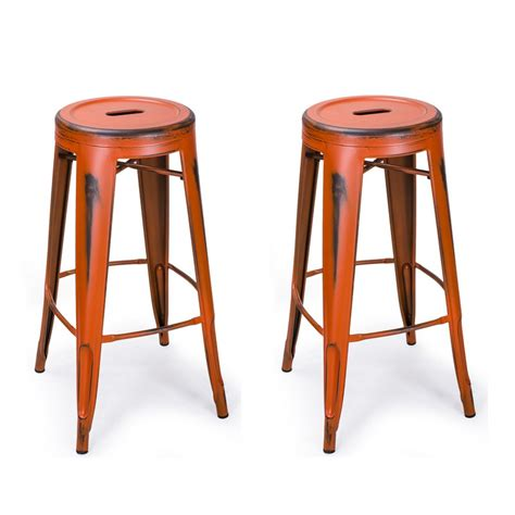 antique style bar stools adeco antique style orange 30 inch metal bar stools set