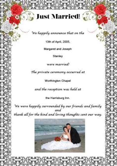 Wedding Announcement Letter Template by Sles Of Wedding Announcement Wording Lovetoknow