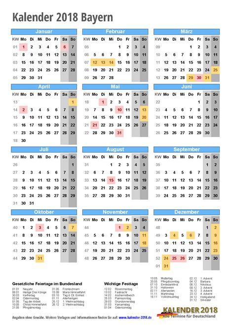 Kalender 2018 Zum Ausdrucken Mit Feiertagen Bayern Kalender 2018 Bayern Zum Ausdrucken 171 Kalender 2018