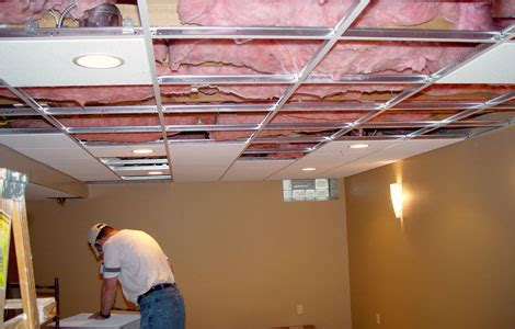 Suspended Ceiling Tiles Installation by Installing Basement Drop Ceiling Tiles Installing