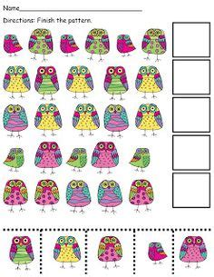 kindergarten pattern activities interactive 1000 images about preschool themes owls on pinterest