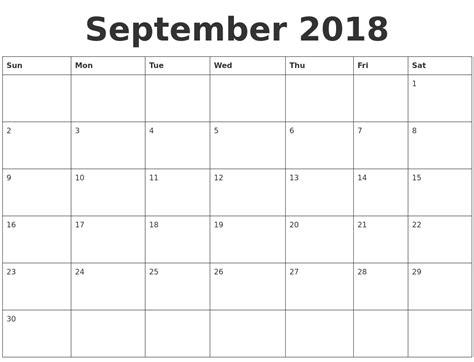 Plain Calendar Template by September 2018 Blank Calendar Template