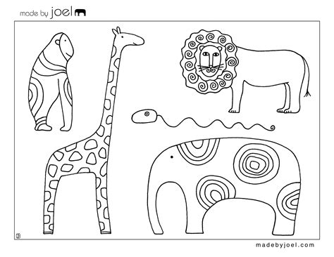Free Coloring Pages Of Animals Template Animal Templates
