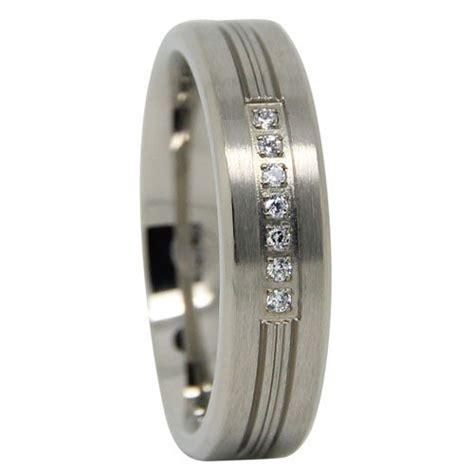 mens titanium wedding ring with simulated diamonds