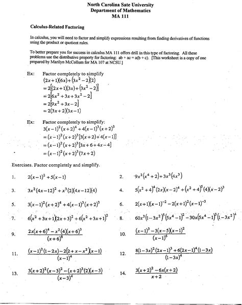 Calculus Worksheets by Girlshopes