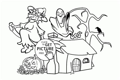 witch with ghosts coloring page halloween funny halloween witch and ghost coloring pages for kids