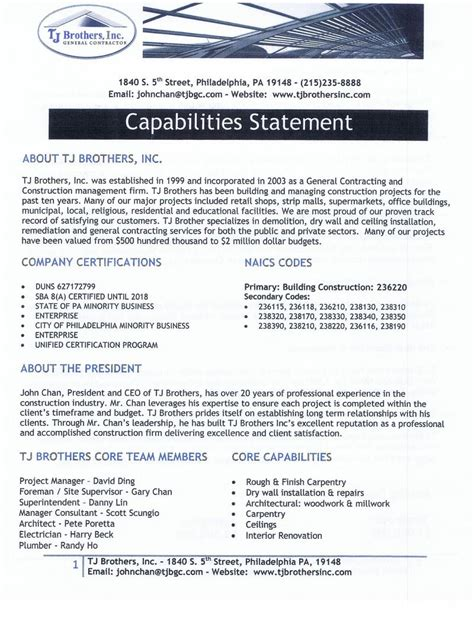 capability statement template word capabilities statement template photos exle