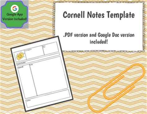cornell notes template docs cornell notes template docs version included