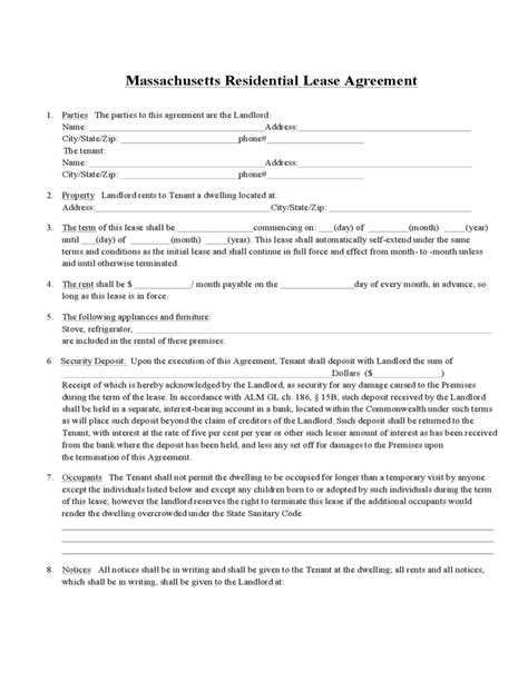 Massachusetts Standard Residential Lease Agreement Form Free Download Massachusetts Rental Lease Template