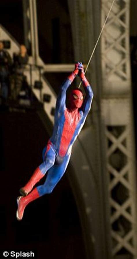 spiderman rope swing spider man flies as mid air scenes shot for new film in