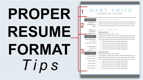 Proper Resume Format Template by Proper Resume Format Resume Formatting Tips