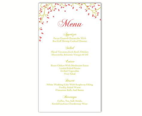 diy wedding reception menu card template wedding menu template diy menu card template editable text