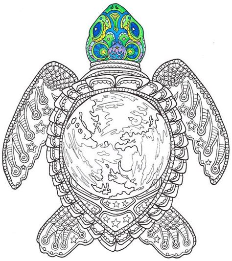 coloring pages for adults turtles adult coloring page world turtle printable by candyhippie