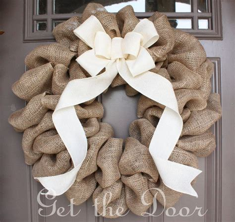 burlap wreath tutorial stonegable burlap wreath with cream bow burlap wreath spring by