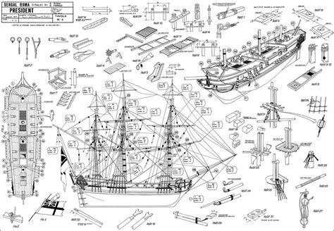 HMS President (British Light Frigate with plans) - Unrated ... T 34 Blueprints