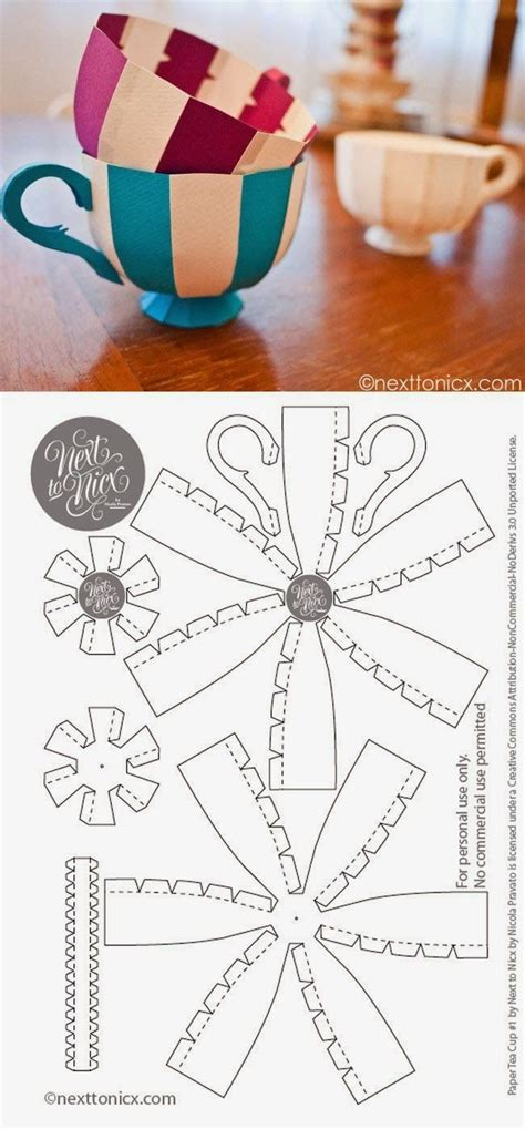 How To Make Paper Tea Cups - imprimolandia diy tazas de papel imprimibles variados