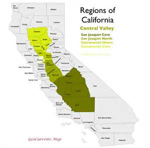 map of california central valley the regionalization of california part 2 geocurrents