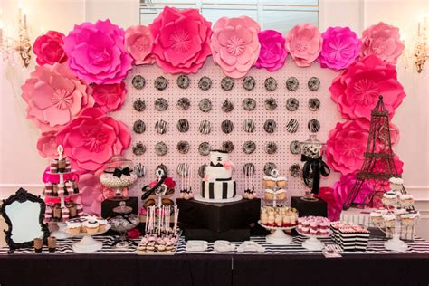 pink and black bridal shower decorations glam chanel themed bridal shower weddingwire