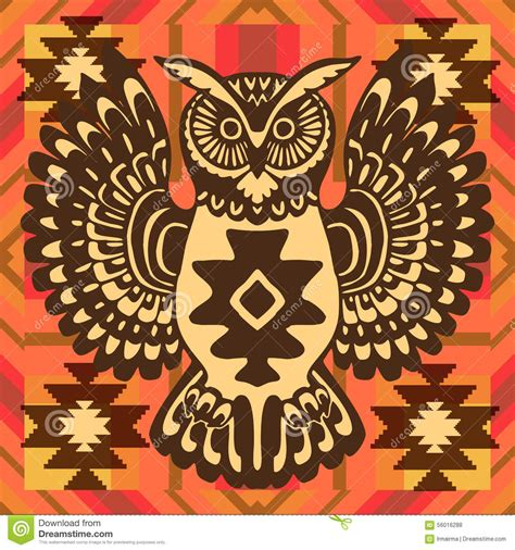 tribal pattern owl background tribal background with owl stock illustration image