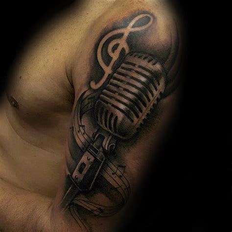 microphone tattoo arm 75 music note tattoos for men auditory ink design ideas