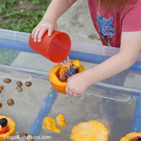 pumpkin boat pumpkin boats fall sensory play idea frugal fun for boys
