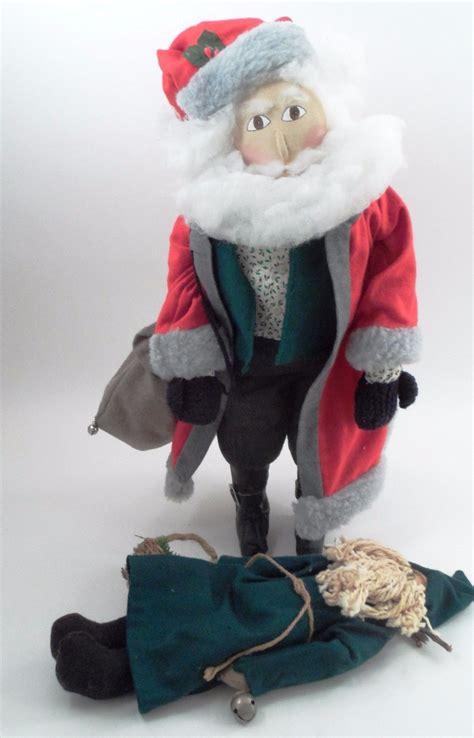 Handmade Santa Claus Dolls - 2 prim handmade woodland santa claus kris kringle